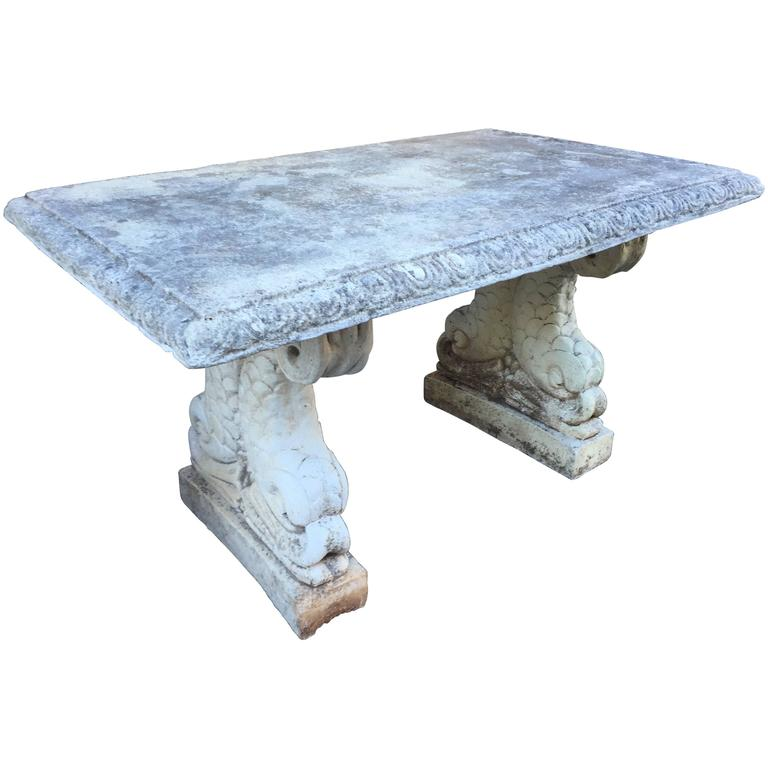 19th Century Cast Stone Italian Garden Table with Dolphin Bases 1