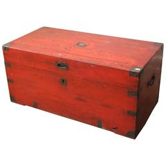 English Camphor Shipping Trunk in Orange Paint, Late 19th Century