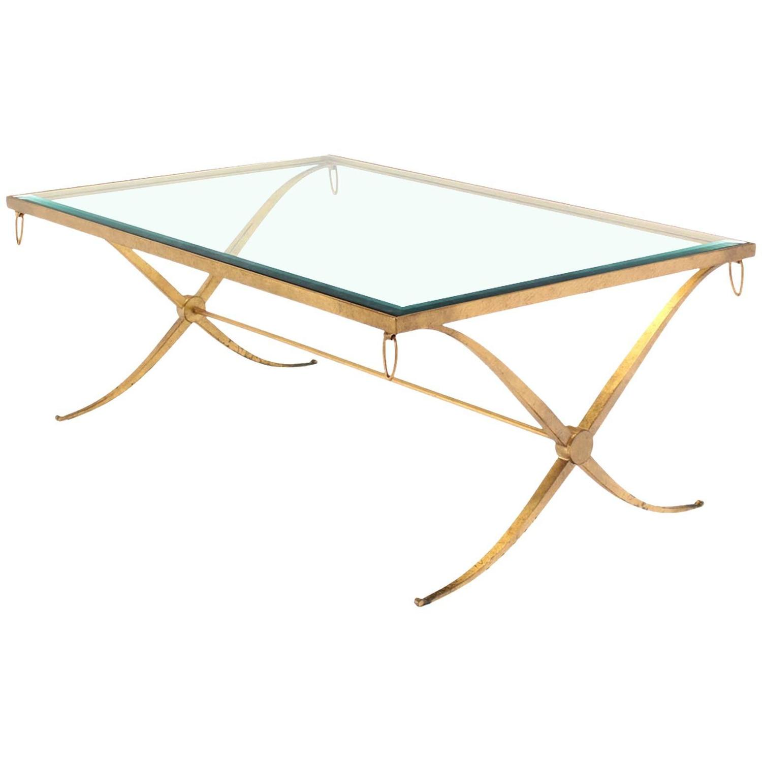 Heavy Gold Gilded Iron X Base Decorator Coffee Table with Glass