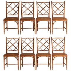 Set of Eight Antique Chinese Chippendale Style Dining Chairs