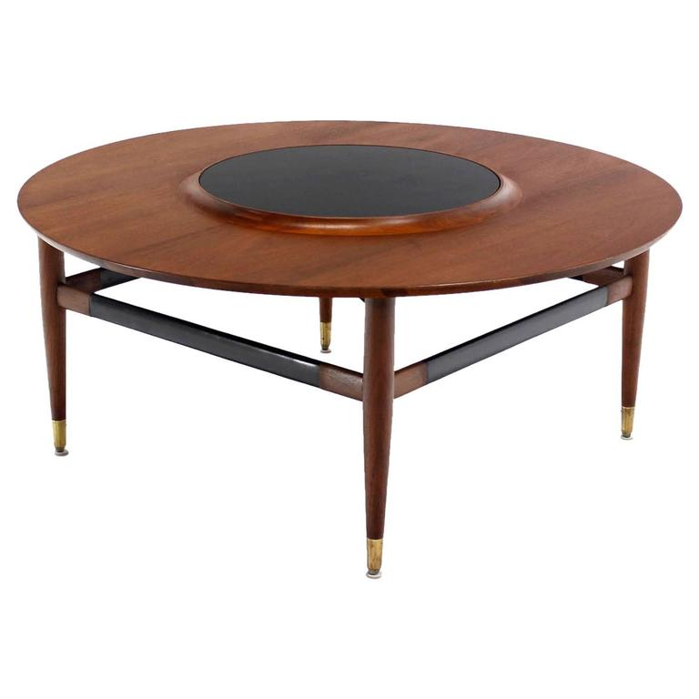 Charmant Round Walnut Coffee Table With Raised Black Laminate Lazy Susan Center For  Sale