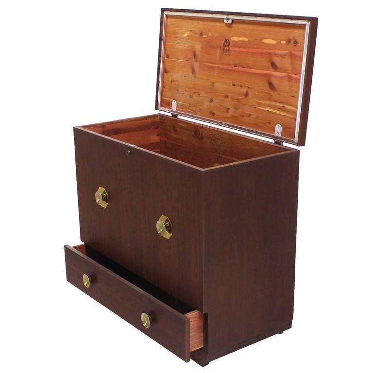 Mid Century Modern Cedar Lined Hope Chest w/ Brass Pulls One Bottom Drawer For Sale