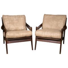 Pair of Danish Modern Armchairs in the Manner of Ib Kofod-Larsen