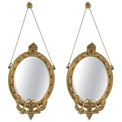 Pair 19th C Mirror Oval Sconces Giltwood Design With Two Candle On Each Mirror