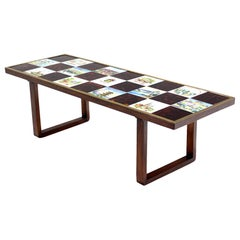 Mid Century Modern Checker Style Tile Top Coffee Table in Brass Frame