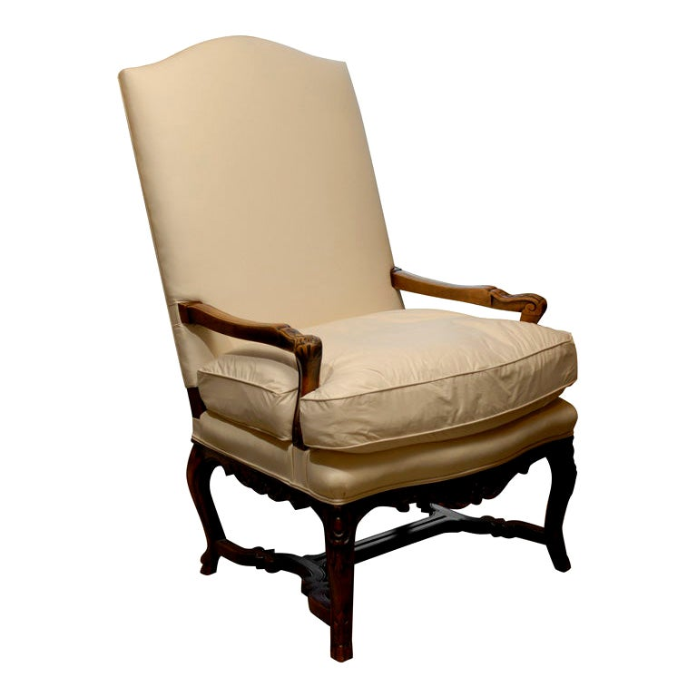 19th Century Carved Louis XV Style Armchair with Stretcher