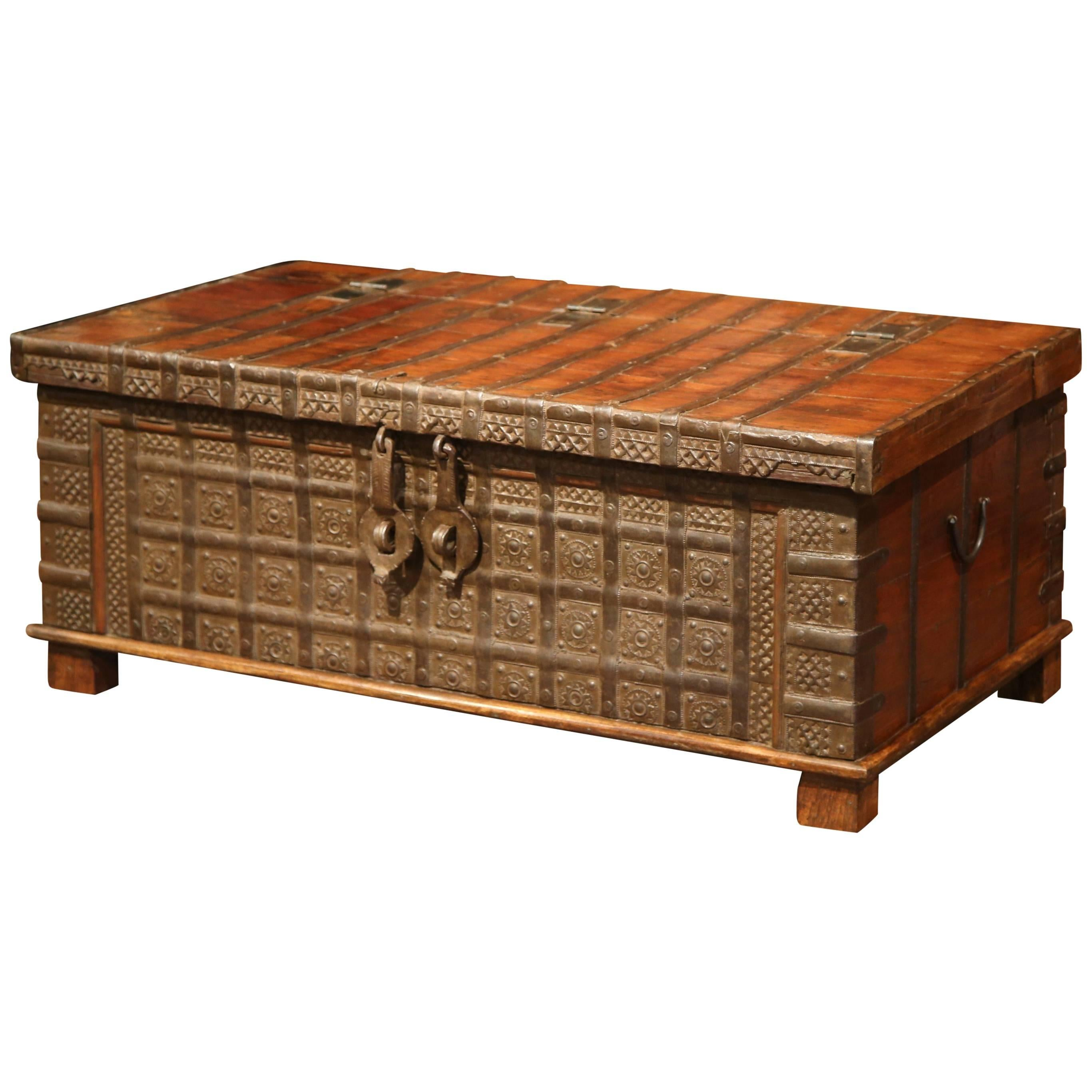 19th Century English Carved Chestnut Trunk Coffee Table With Heavy Hardware  For Sale
