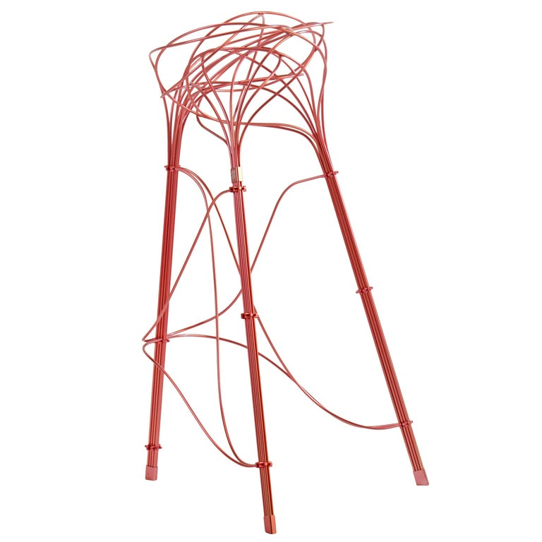 Burr Puzzle High Stool Side Chair In Pink Aluminum Finish