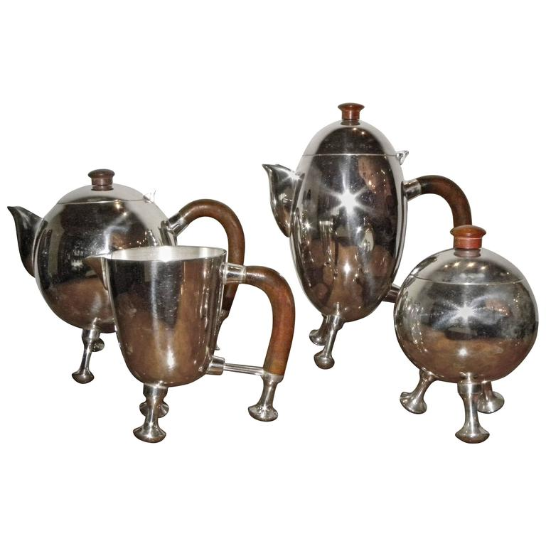 Silver Art Deco Midcentury Tea and Coffee Service Set For Sale