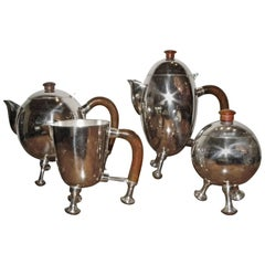 Silver Art Deco Midcentury Tea and Coffee Service Set
