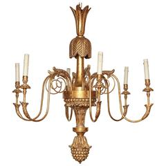 Large Regency Carved Giltwood Chandelier
