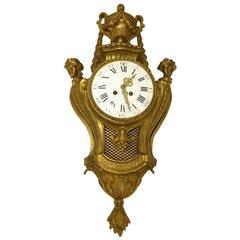 19th Century Figural Gilt Bronze Cartel Clock Signed Le Roy