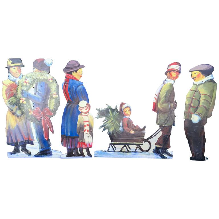 Set of Large Painted Holiday/Winter Village Scene Figures