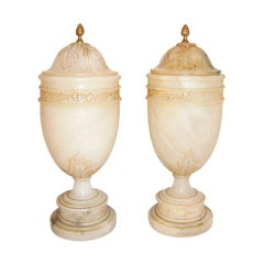 Carved Alabaster Table Lamps