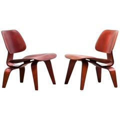 1940's red, brown molded plywood set of Charles and Ray Eames LCW Chairs 'b'