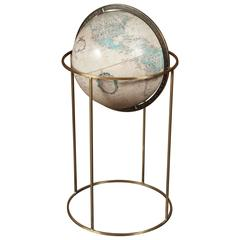 World Globe on Brass Stand in the Manner of Paul McCobb