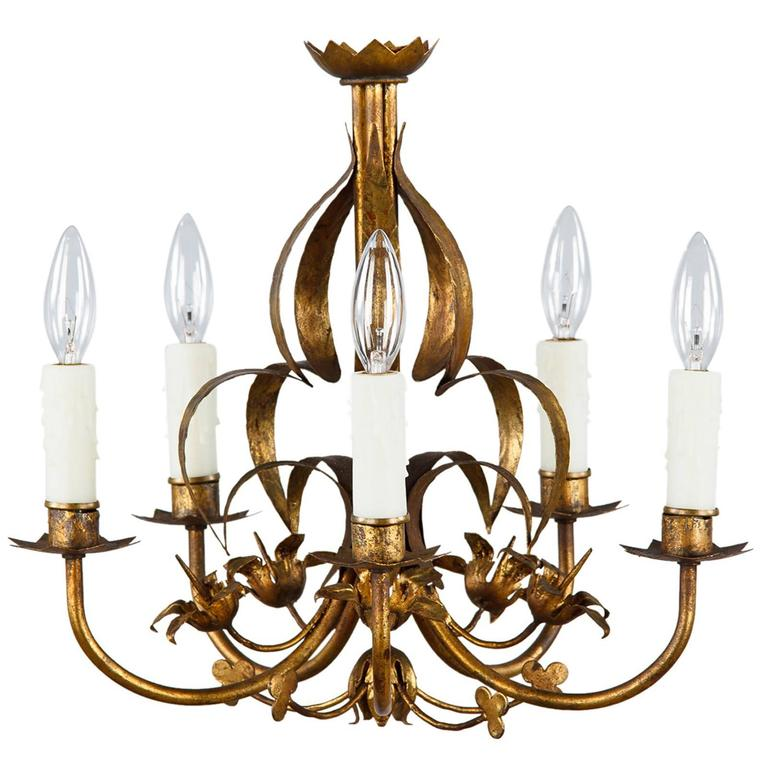 French gilded metal chandelier circa 1940s at 1stdibs - Circa lighting chandeliers ...