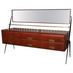 Pair of Italian Modern Mahogany, Brass and Iron Sideboards, Silvio Cavatorta