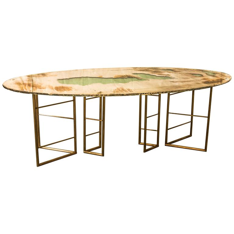 Fly dining room table brass legs diamond cut glass top  : 3546382l from www.1stdibs.com size 768 x 768 jpeg 30kB