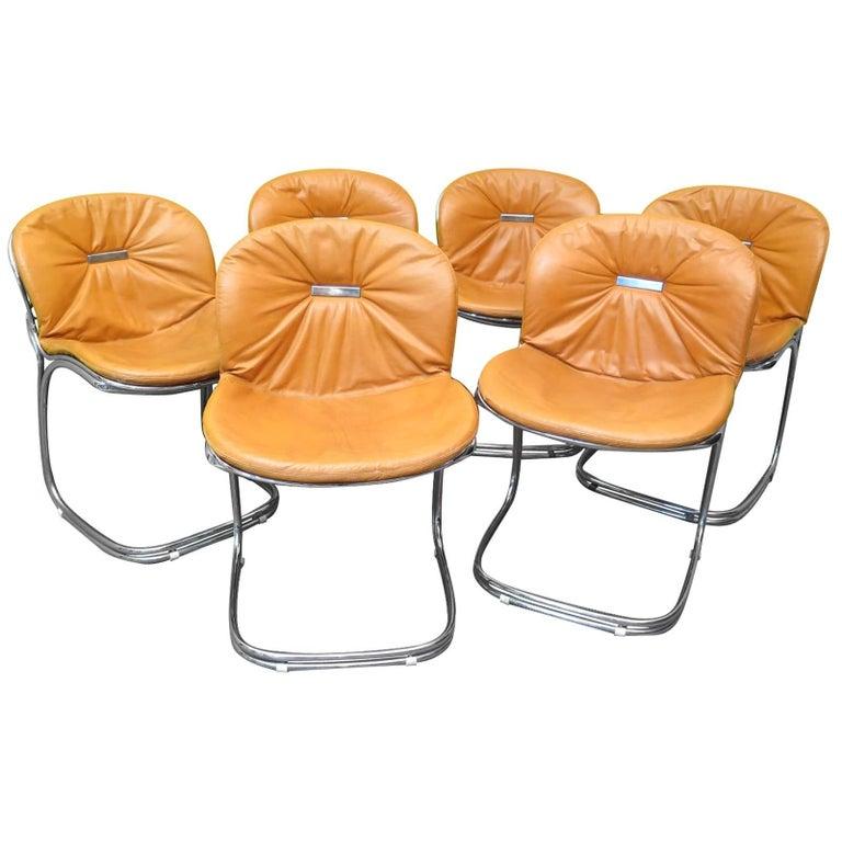 Six by Gastone Rinaldi Leather and Tubular Metal Italian Chairs