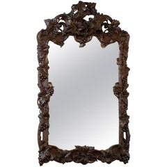 Large German Black Forest Carved Mirror with Bird Motif from the 19th Century