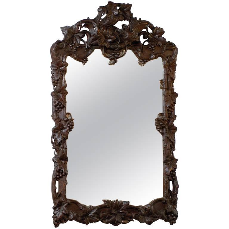 Large German Black Forest Carved Mirror with Bird Motif from the 19th Century For Sale