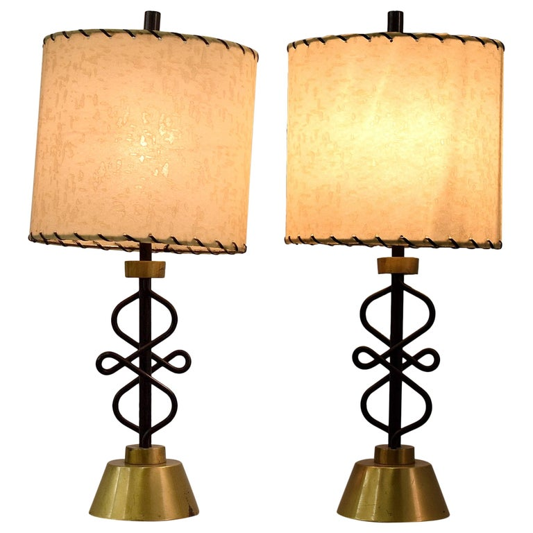 Two 1950s Table Lamps by Majestic, New York For Sale