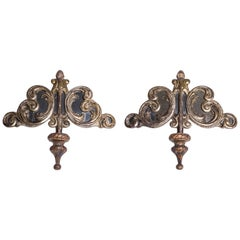 Large  Silvered Baroque Friezes with Mirrors - Wall Sconces or Sculptures