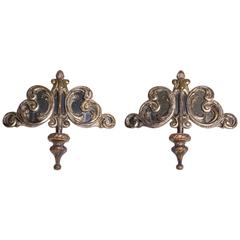Large Antique Silvered Baroque Friezes with Mirrors - as WallSconces
