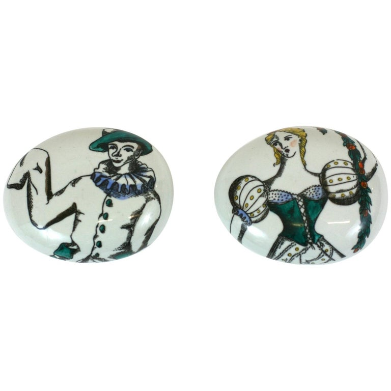 Fornasetti Commedia dell'Arte Paperweights For Sale