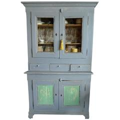 French XIX Painted Pine Bookcase or Buffet