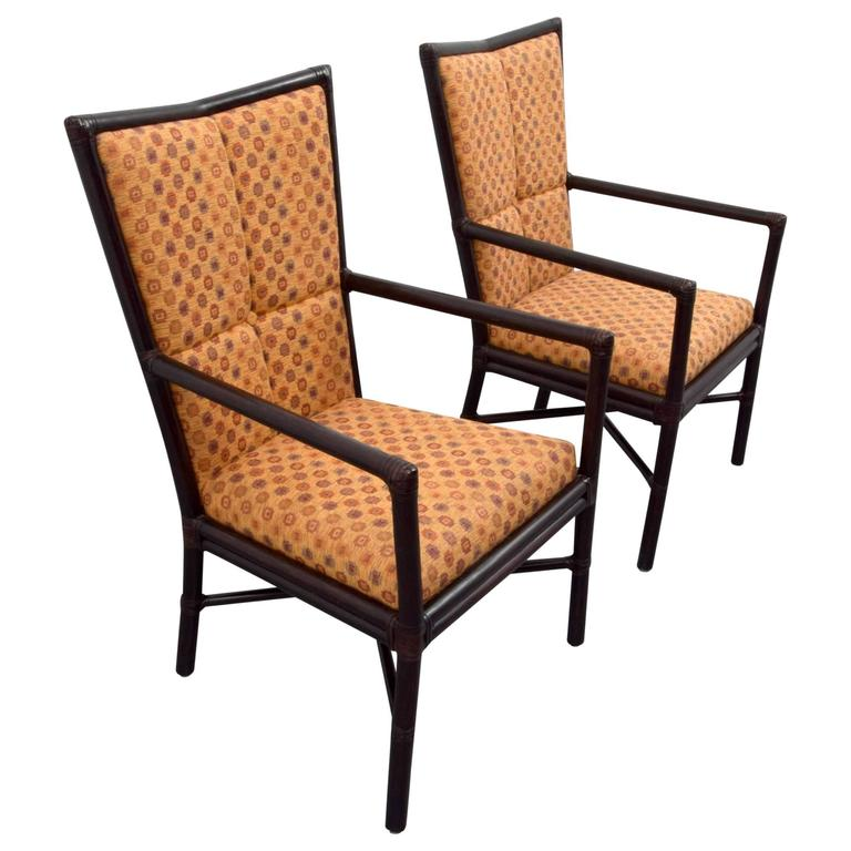 Pair of Orlando Diaz-Azcuy High Back Chairs for McGuire
