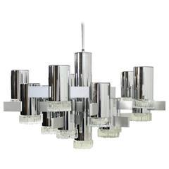 Large 1970s Gaetano Sciolari Chrome and Glass Studio Chandelier 16 Lights