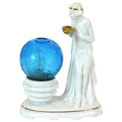 Art Deco Porcelain Perfume Lamp, Original Etched Globe