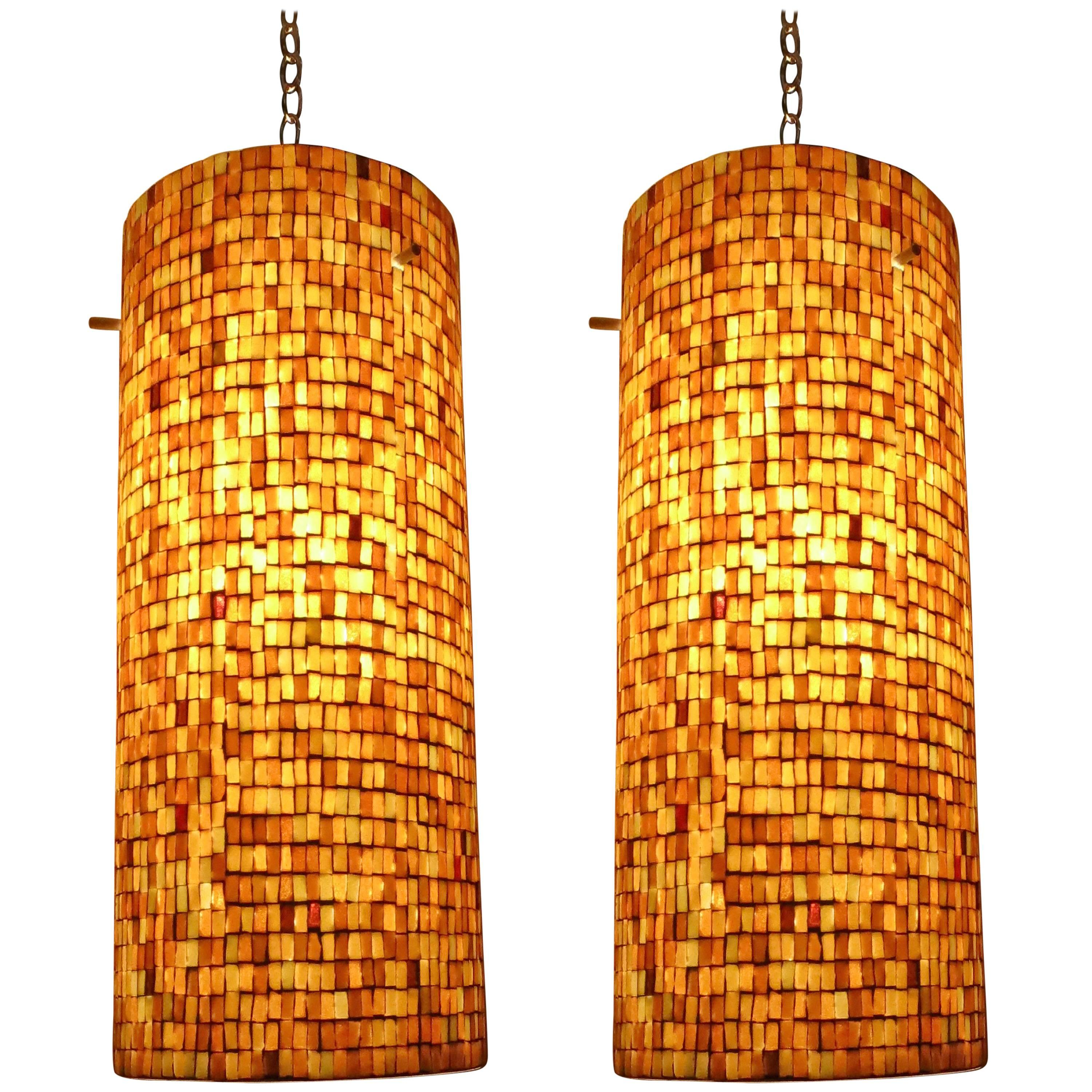 Pair of ceiling fixtures in mosaic tiles made in usa c 1960 for sale at 1stdibs