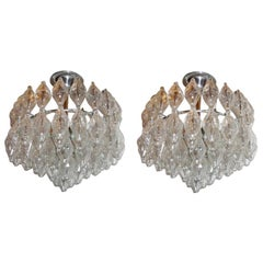 Pair of Molded Glass Moderne Fixtures