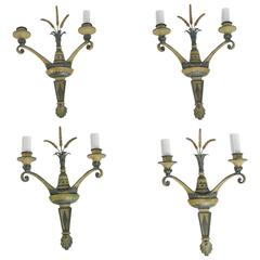Set of Four Neoclassical Style Cold Painted Bronze Two-Arm Sconces