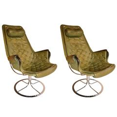 Pair of 1970s Leather Armchairs by Mathsson