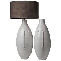 Large Pair of White Faces Stoneware Lamp Bases by DaLo
