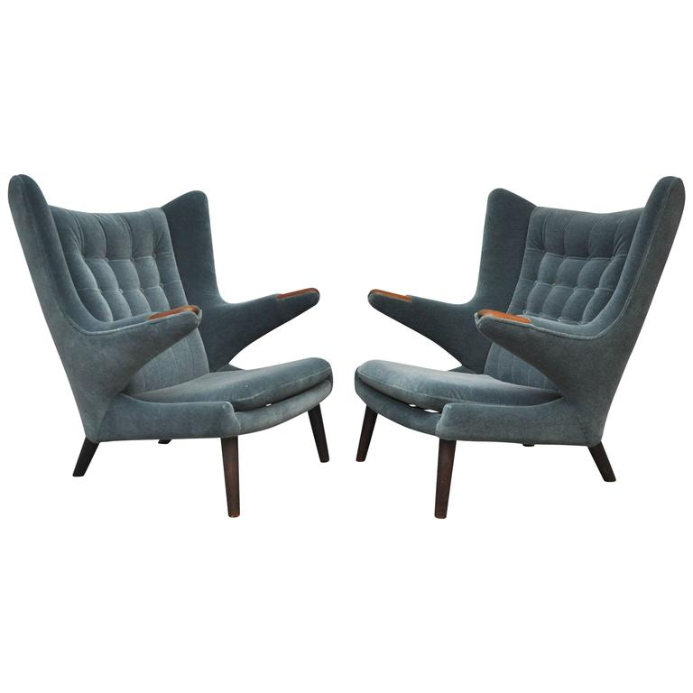 Pair of Hans Wegner Papa Bear Chairs For Sale