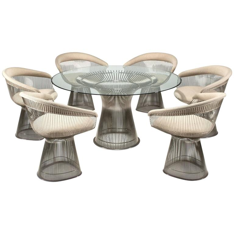 this platner dining table and six chairs by warren platner for knoll