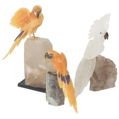 Carved Geode Hardstone Parrot Sculptures