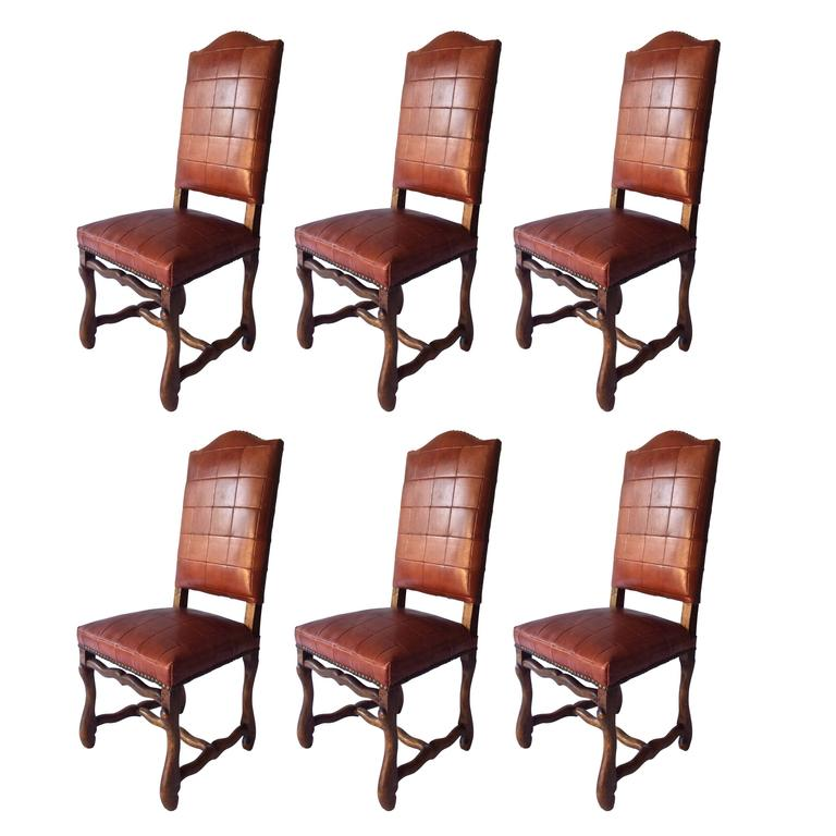 Set Of Six Antiques Os Du Mouton Chairs In Oxblood Red Leather Patchwork For