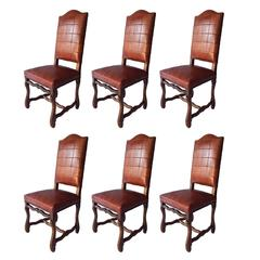 Set of Six Antiques Os Du Mouton Chairs, in Oxblood Red Leather Patchwork