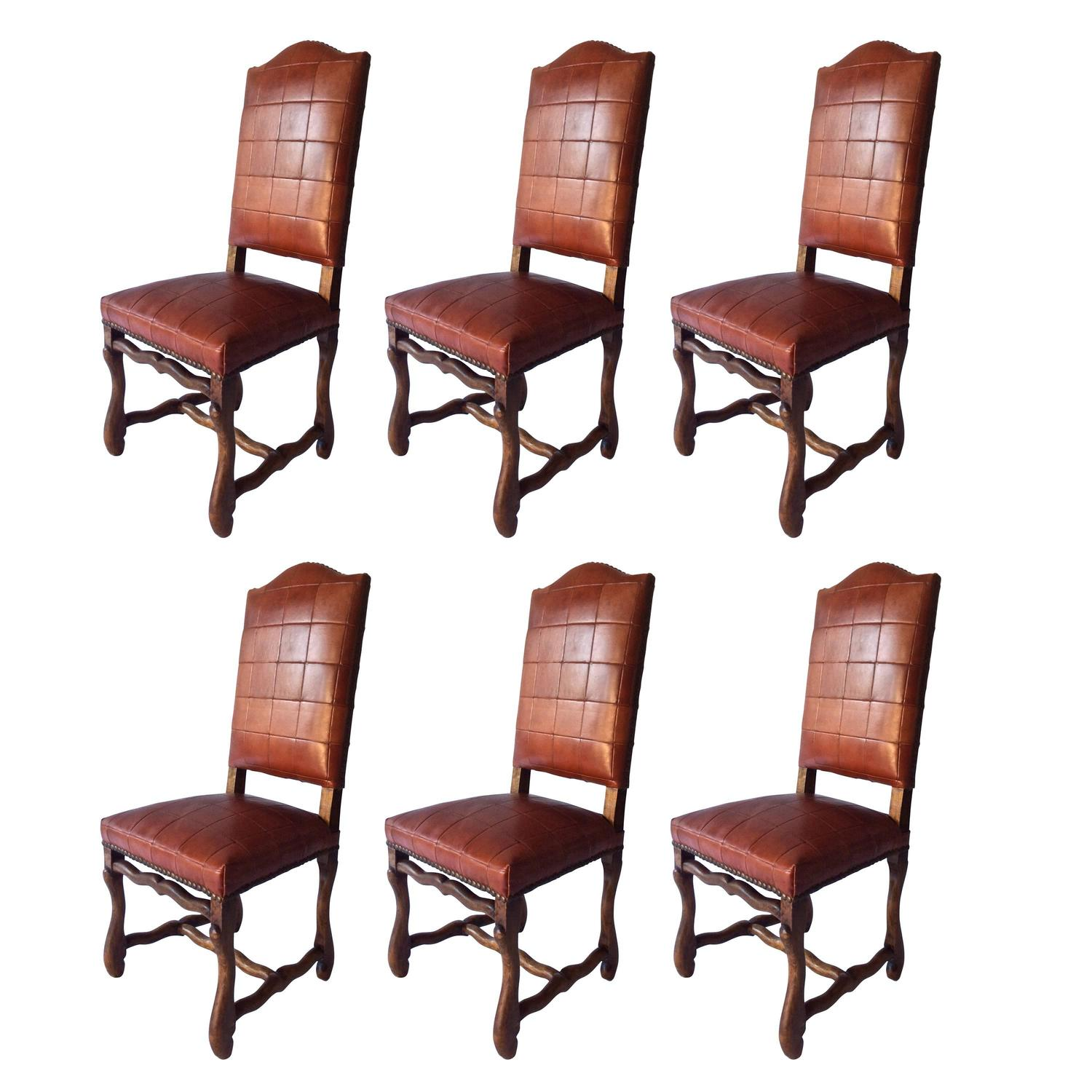 Set of Six Antiques Os Du Mouton Chairs in Oxblood Red Leather