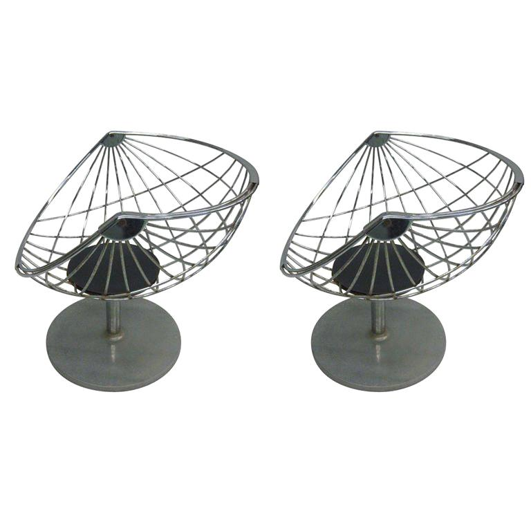 Pair of Belgian Mid-Century Modern Chrome Steel Lounge Chairs by Rudi Verelst