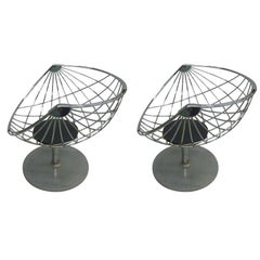 Pair of Belgian Mid-Century Modern Chrome Steel Lounge Chairs by Rudi Verelst