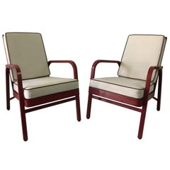 Lounge Chairs, Pair by Jules Leleu and Jean Prouvé