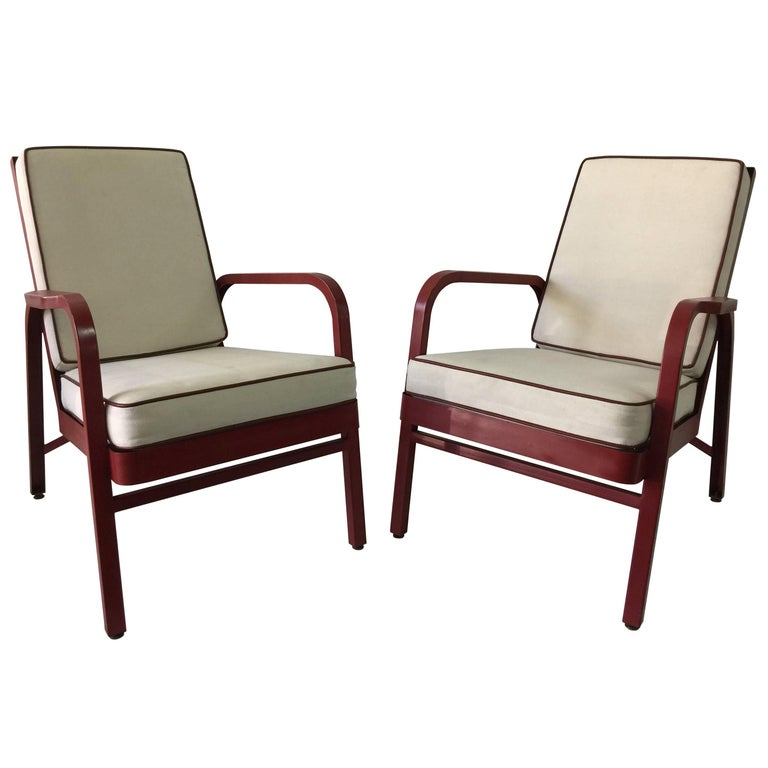 Lounge Chairs, Pair by Jules Leleu and Jean Prouvé For Sale