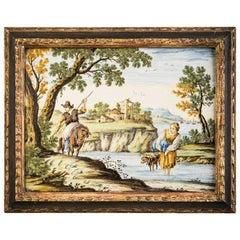 Framed Italian Majolica Plaque, Castelli, circa 1750